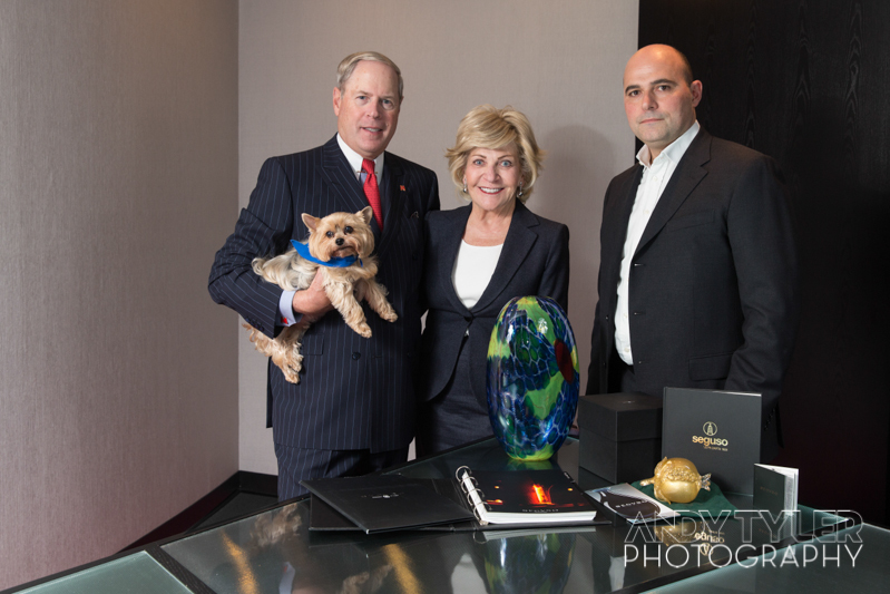Metro Bank Founder and Chairman, Vernon Hill, his wife Shirley, dog Duffy and a representative from Seguso.