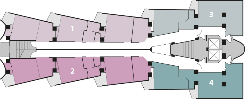 A floor plan of the Blue Sky building showing 4 apartments