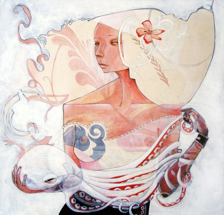 "Marie, acrylic on illustration board, 24"" x 24"", 2008"