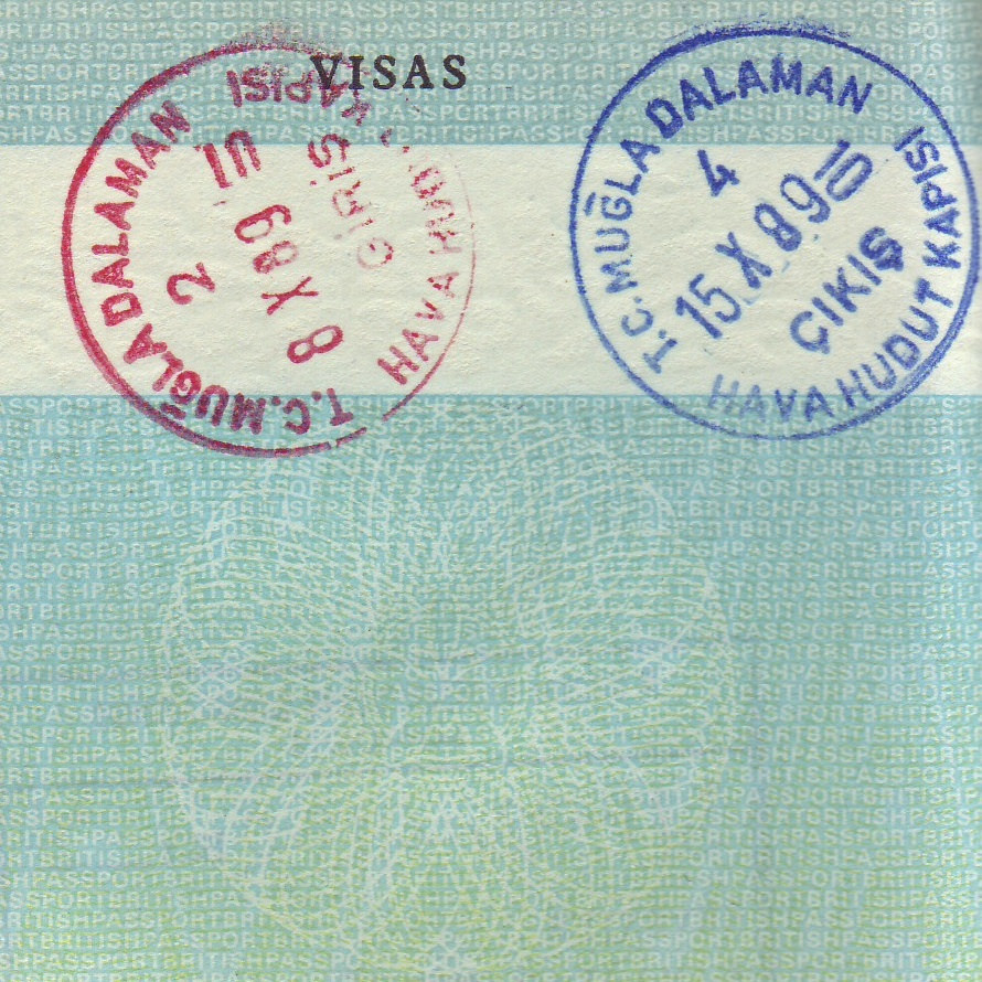 Stamps in my passport from my first ever trip to Turkey in 1989