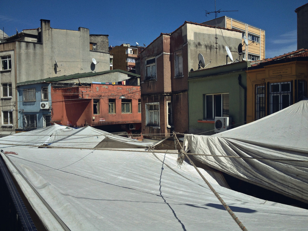 Awnings over a street market