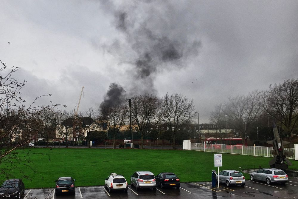 This plume of smoke is the aftermath of an explosion in Colindale