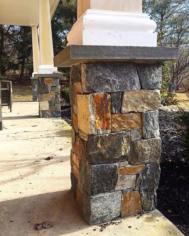Front porch veneer stone pillars by @americanstonels