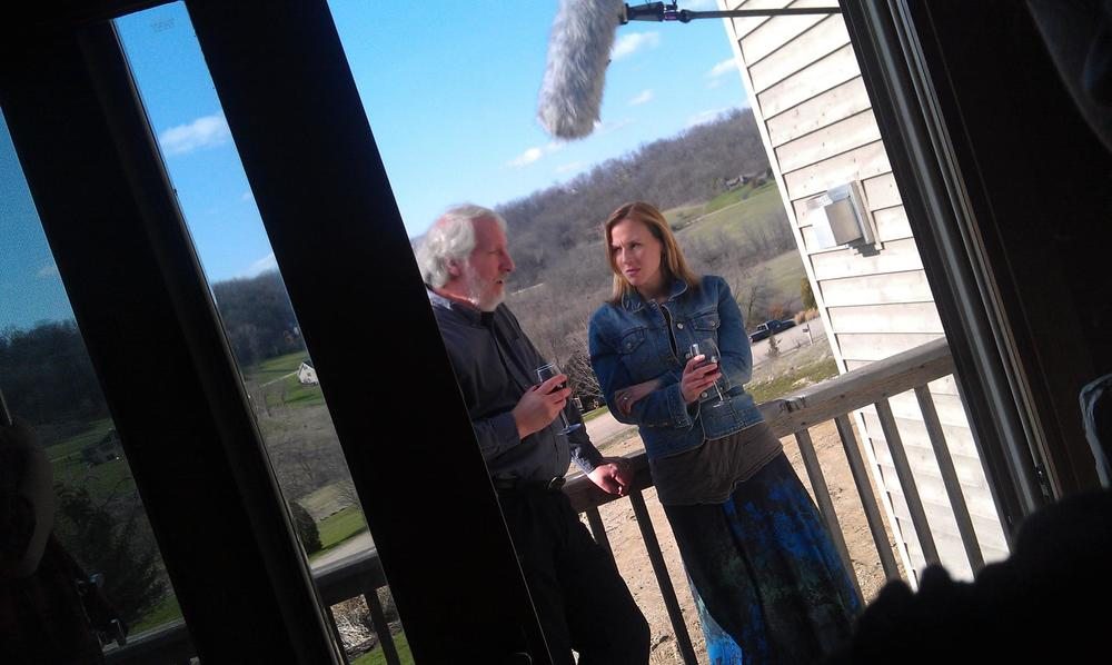 Actor Ron Jenkins with Actress-Producer Grace McPhillips on set in The Other One