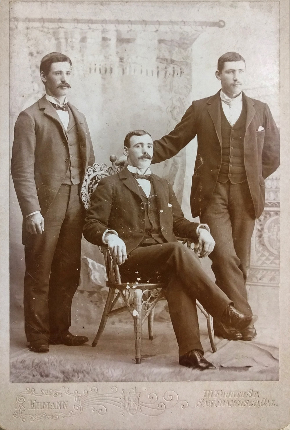 Mr. James Logan (on left) with his two brothers.  (Click image to enlarge)