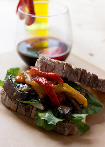 Grilled Portobella and Peppers Escabeche Sandwich