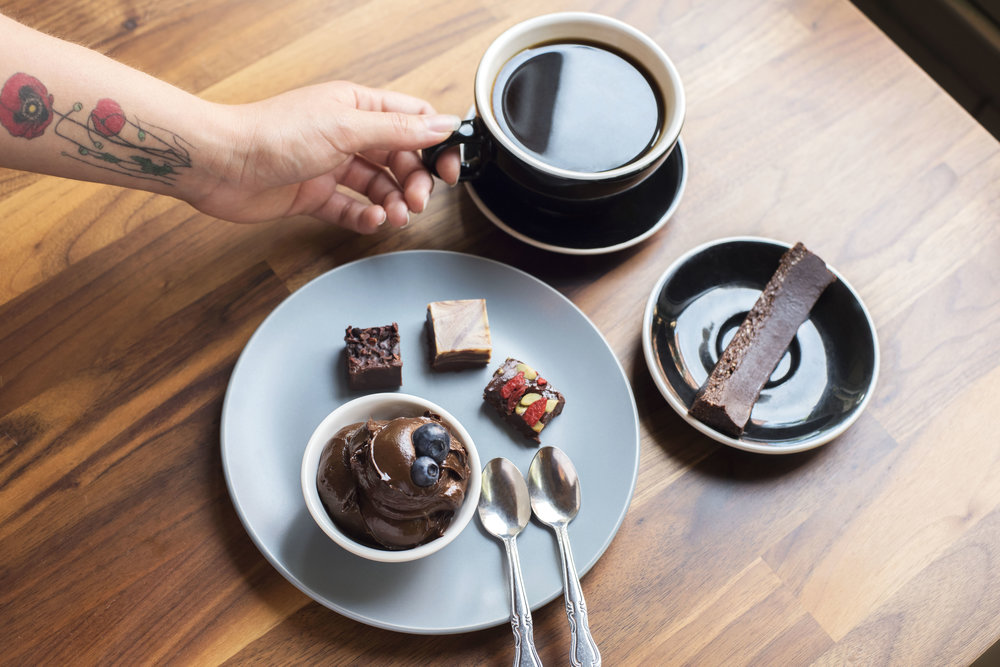 Photo of: RawVegan chocolate pudding, chocolate fudge and coffee bar. / Photo by: Yoonjoo Kim (all rights reserved)