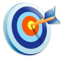Graphic of target with arrow in center (a bull's eye)