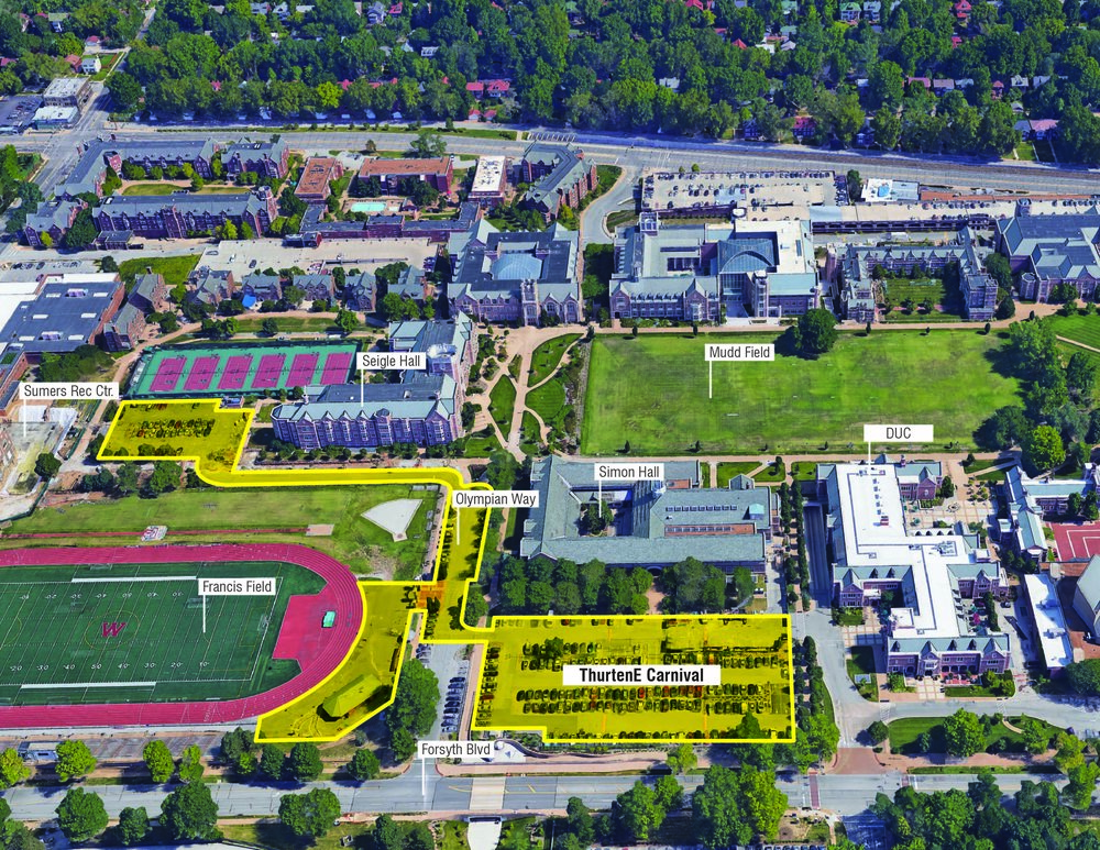 """The new site for Washington University's annual family-friendly tradition will sit close to the heart of the Danforth Campus, occupying the Simon Hall and Athletic Complex parking lots, the paved portion within the entrance to Francis Field, and Olympian Way."""