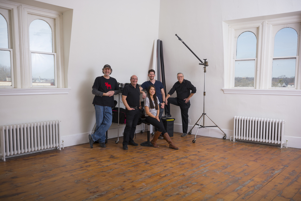 The five partners who own The Loft Studio are (l to r) Bryan Weiss, Robert Schindelheim, Navy Nhum, Gabriel Bousquet, and Joseph Leduc.