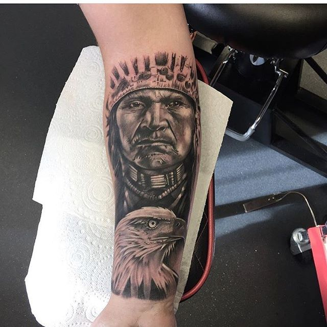 Native American sleeve started today by @andysyme_crossroadstattoo sponsored by @barber_dts