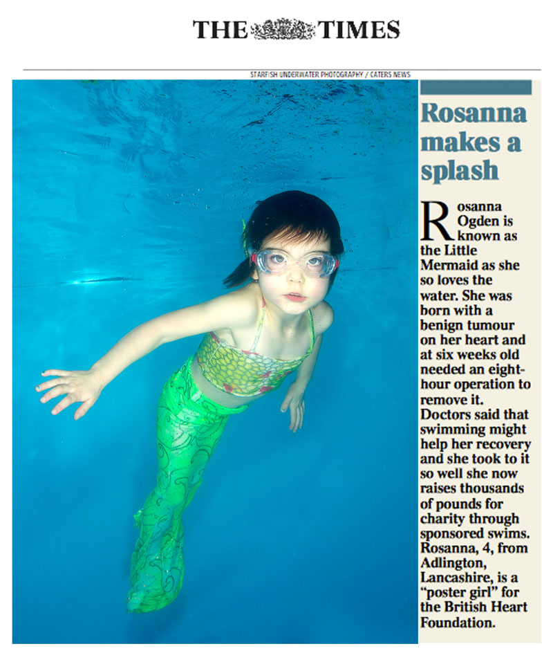 Photograph by Starfish Underwater Photography, 5/2/14  The Times, UK
