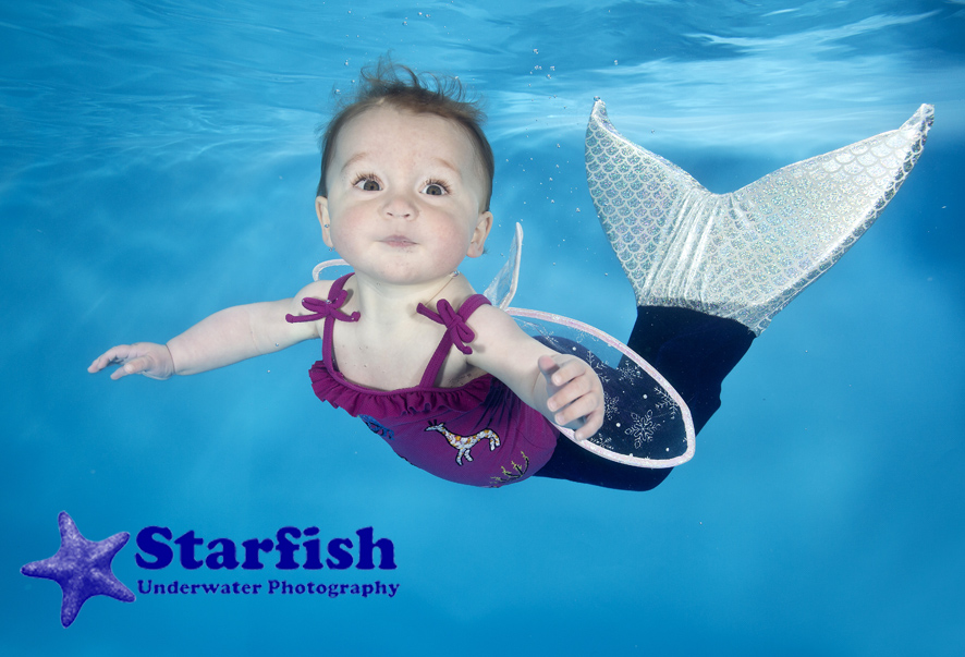Cali Lawson, 8 Months, at an underwater photo shoot with  Little Splashers Swim School at Cookridge Hall, Leeds.
