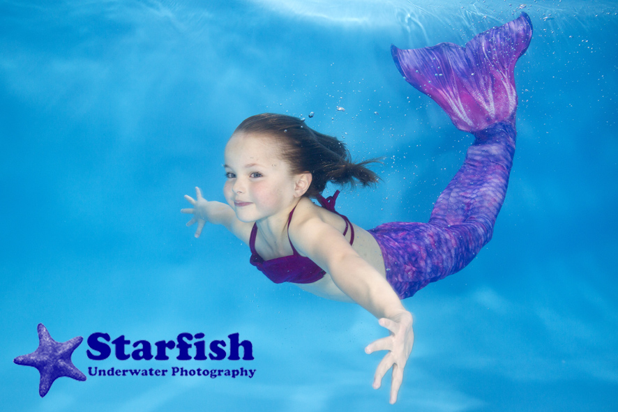 India Hicks, 5, makes a natural mermaid at an underwater photo shoot in Leeds with Little Splashers Swim School.