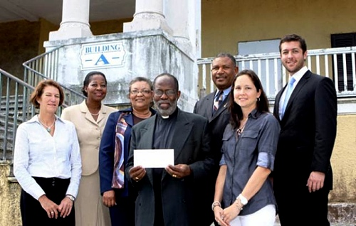 """Corporate Sponsors of the National Museum of The Bahamas/Antiquities, Monuments and Museum Corporation's fundraising concert, """"An Evening of Popular Classical Music"""". Pictured from left are Linda Elden, Property Manager & Appraiser, Graham Real Estate; Dorcena Nixon, VP Patient Care, Doctors Hospital; Hannah Gray, Deputy Managing Director, PHA; Dean Patrick Adderley, Chairman, Antiquities, Monuments and Museum Corporation; Leroy Sumner, Asst. General Manager, Teachers & Salaried Workers Cooperative Union Ltd. Laura Kimbley, Eastate Agent Graham Real Estate; and Werner Gruner, Rep. South African Community in The Bahamas; not pictured Nathaniel Beneby, Market Head of Personal Banking RBC. (Photograph courtesy BIS)"""