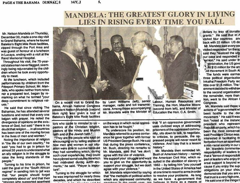 This Picture was taken at BaTelCo Eight Mile Rock when I was a Senior Manager and Mr Mandela visited The Bahamas right after he was released from prison.  -- Leon Williams