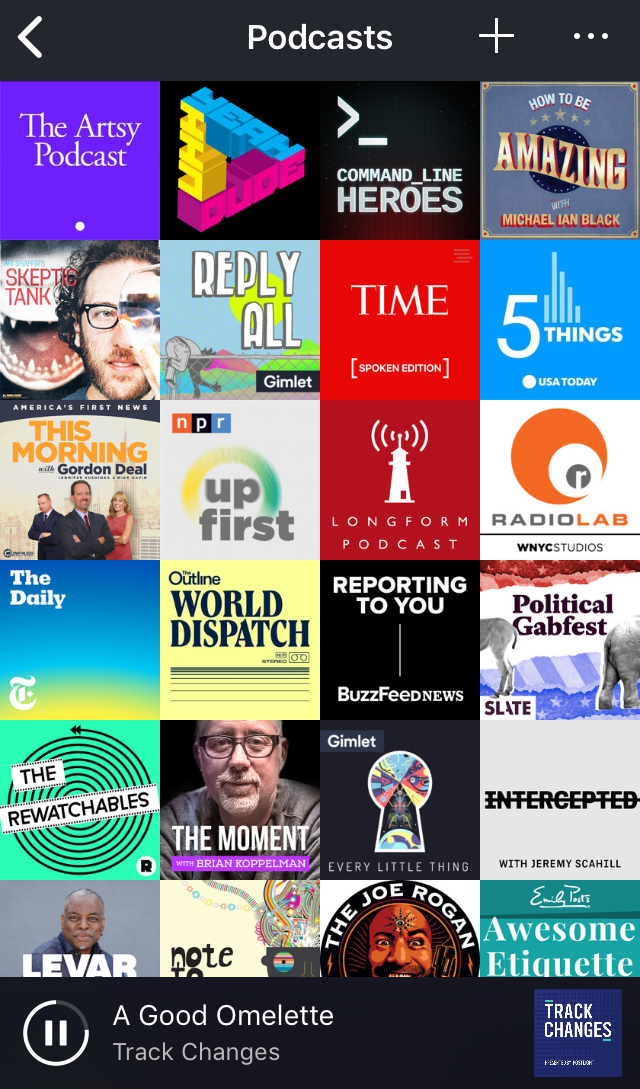Current list of podcast subscriptions for 2018. -