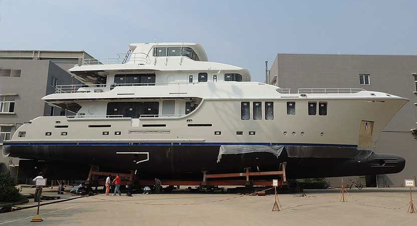 The Nordhavn 120 Aurora before her maiden voyage to Vancouver. Photo courtesy of nordhavn.com.