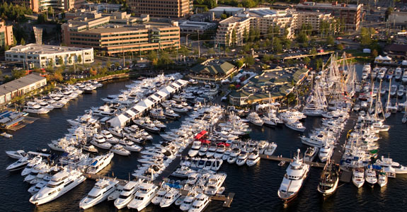 Boats Afloat show from the air. Photo from show's  website .