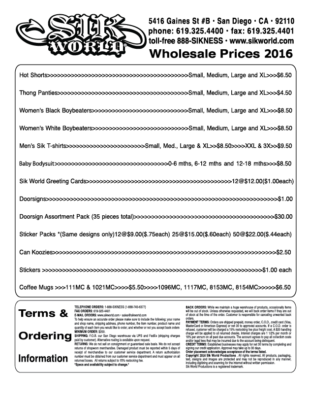 Sik World Wholesale Pricelist 2016