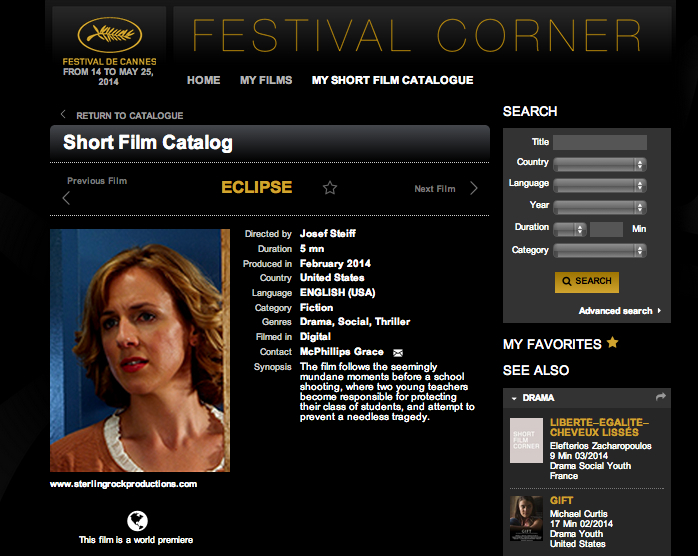 Thrilled to have the World Premiere of Eclipse happen at the Cannes Film Festival!  So exciting!
