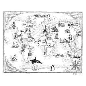 World Map Print 18x24 Naomi Leeman