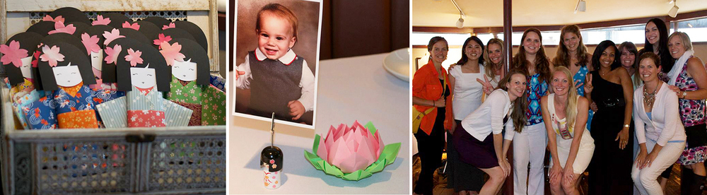 Origami kokeshi chocolate bars, origami lotus table décor (good work, Katie!), and the lovely ladies of VMFA-242!