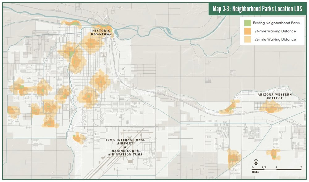 Mapping walkability to existing neighborhood parks.