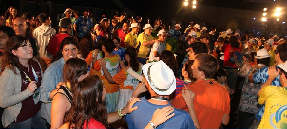 Celebration time at the International Gathering of Marist Youth in Rio, 2013.