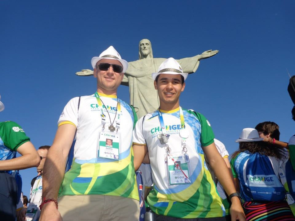 Brother Justin and Young Marist beneath the staute of Christ the Redeemer at World Youth Day in Rio.