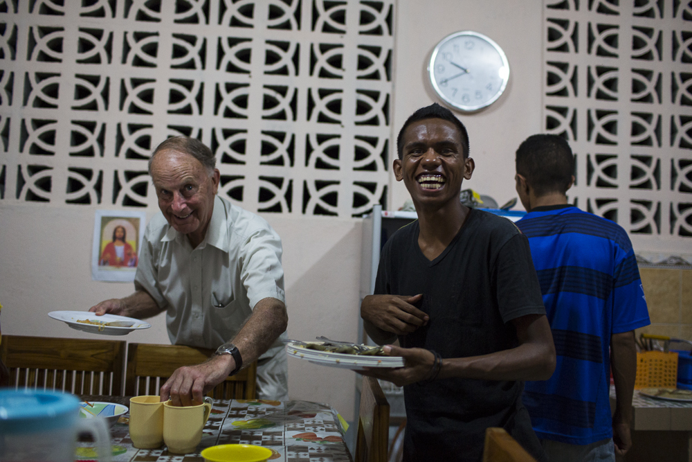 Enjoying the lighter side of food preparation at the Postulancy Community in Timor Leste.