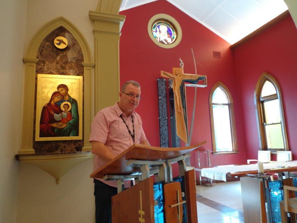 Our lives are nurtured by the Word of God. Br Darren reading from Scripture at the Chapel of the Visitation, Hermitage, Mittagong.