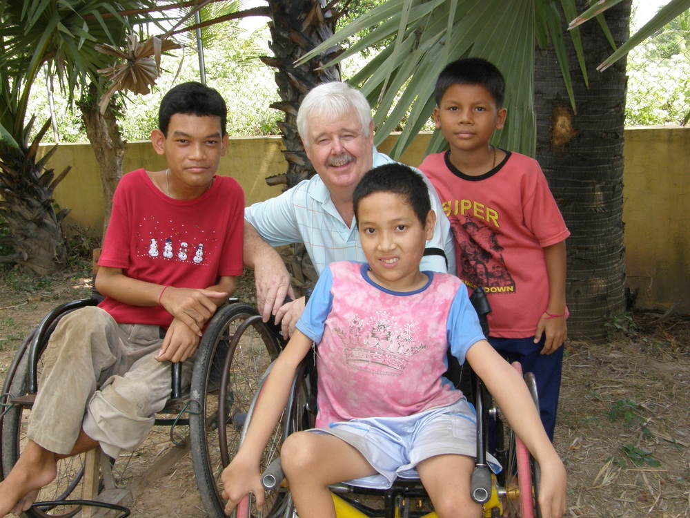 Br Brian with children at the Marist Education Centre, Pailin in Cambodia.