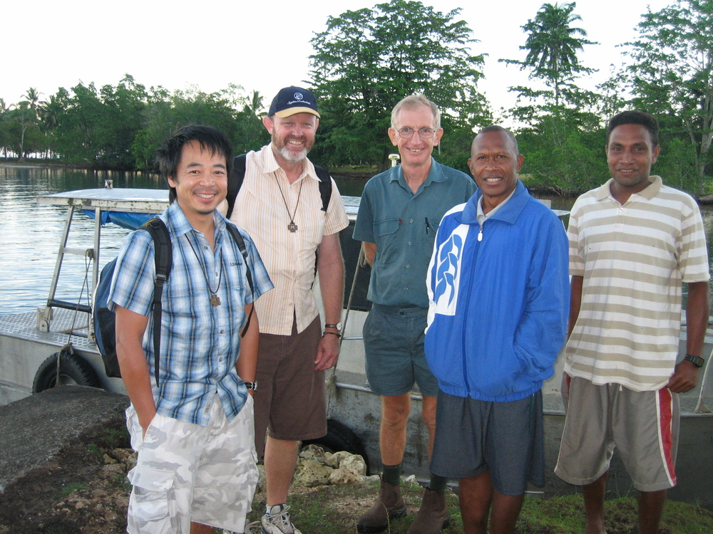 Br Tony, Br Mark, Br Anthony with Brothers from the District of Melanesia at Vanga Point, Solomon Islands.