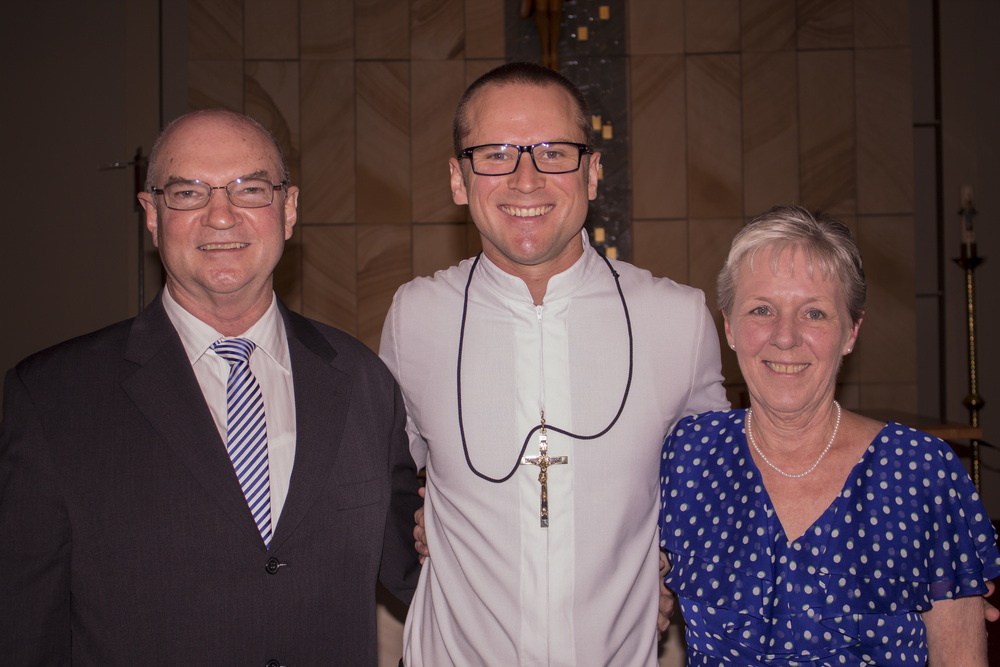 A happy moment with Br Justin and his parents at his Final Profession, St Gregory's College Campbelltown.