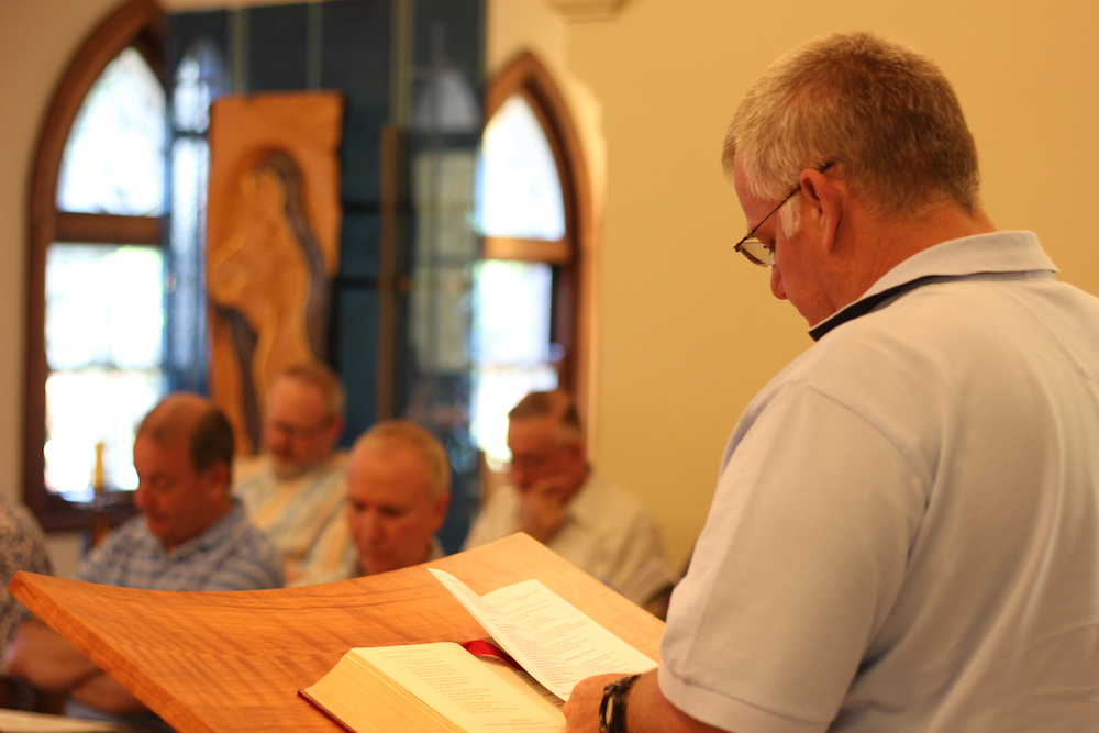 Br John reading from Scripture, Hermitage, Mittagong.