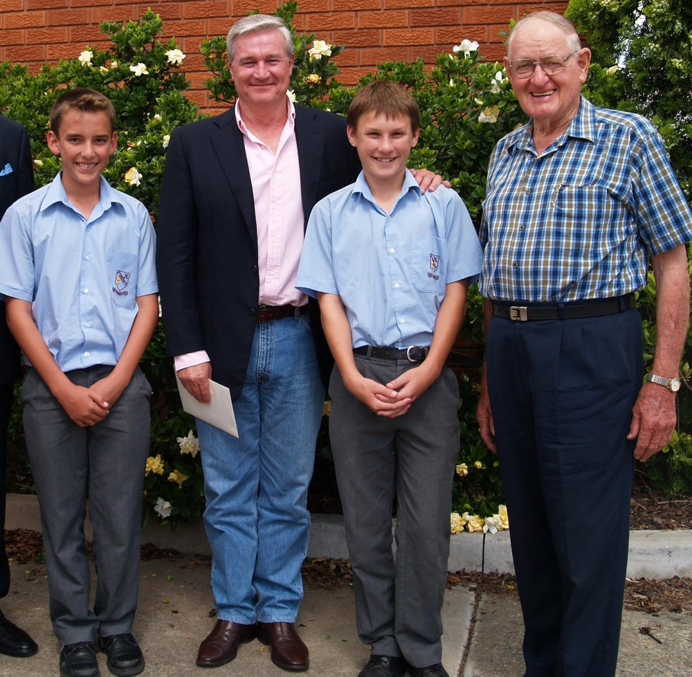 Br Coman (d. 2013) with journalist Mike Munro and students from St Gregory's College Campbelltown.