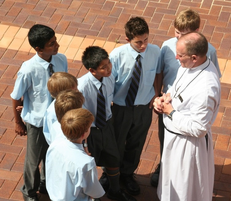 Br Peter with students from Marist College North Shore.