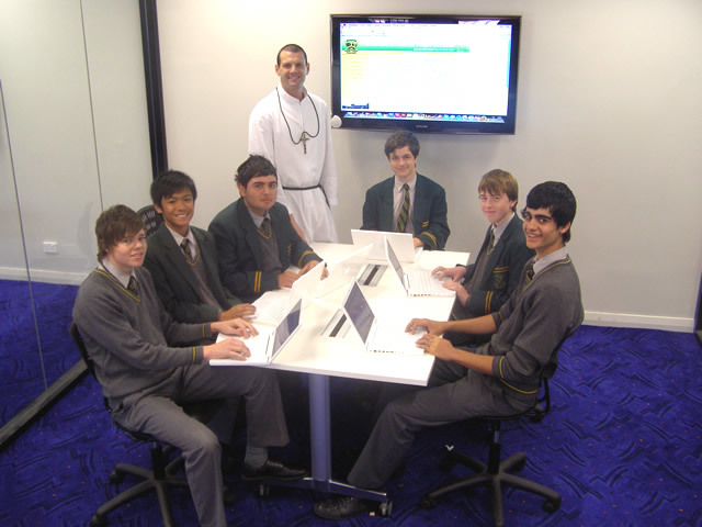 Br Anthony with studnets from Parramatta Marist High.