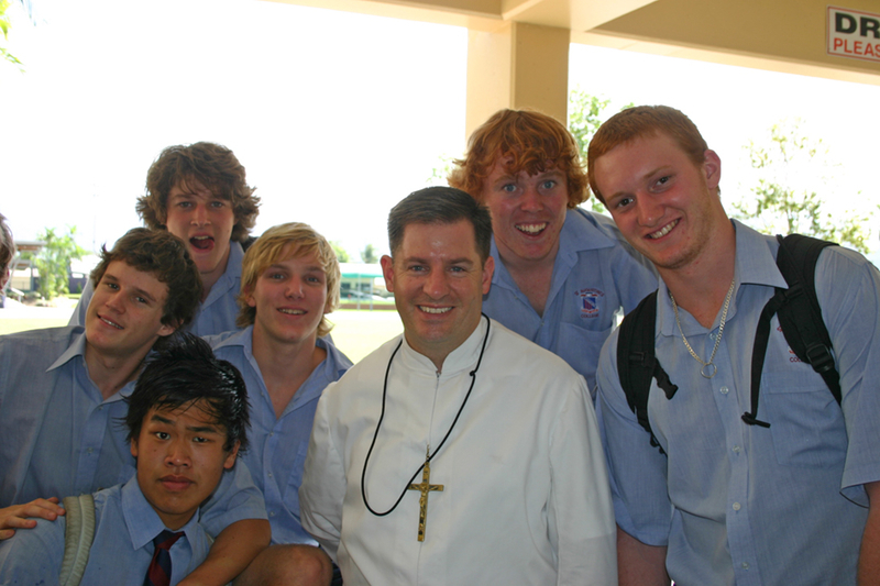 Br Matthew with students from St Augustine's College Cairns.