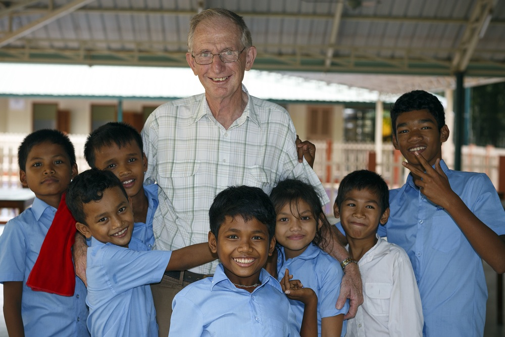 Br Tony with a happy group of students at Salla Lavalla, Cambodia.