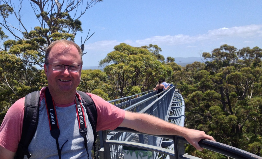 At the top of the 'Valley of the Giants' Denmark in WA, looking down on the amazing Karri forest.