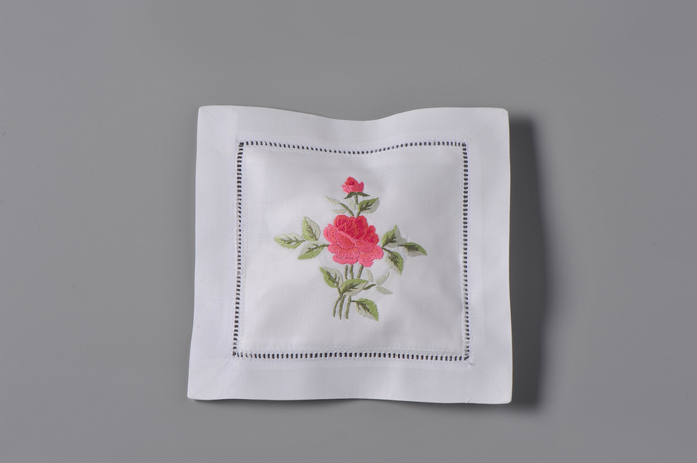 #4006R-RS Hand Embroidered Rose Sachet     Suggested Retail Price $15