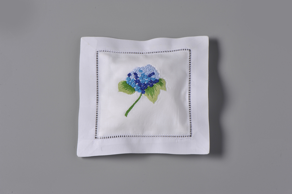 #4245-RS Hand Embroidered Hydrangea Bulb Sachet     Suggested Retail Price $15