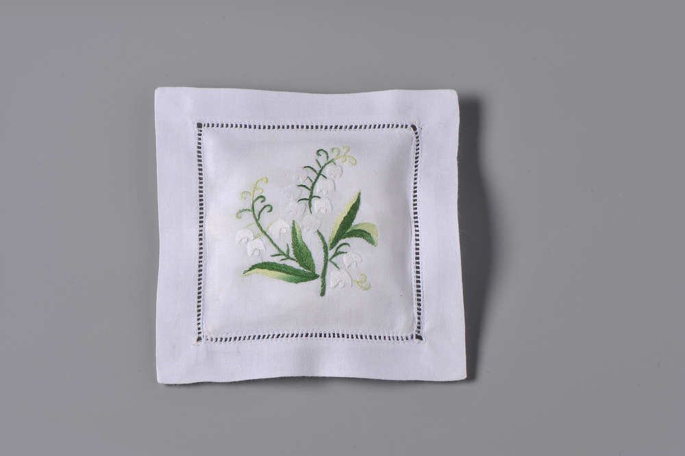 #4257-RS Hand Embroidered Lily of the Valley Sachet     Suggested Retail Price $15