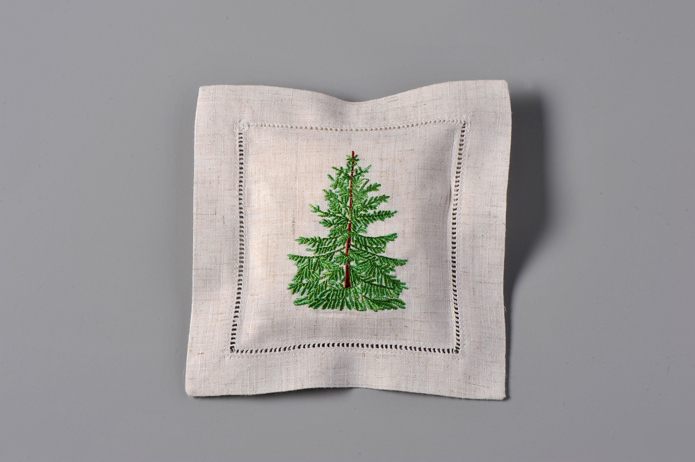 #4283-RS Hand Embroidered Pine Tree Sachet     Filled with Balsam Fir – Christmas Trees Fragrance     Suggested Retail Price $15