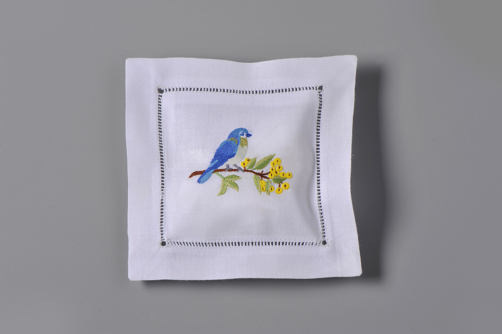 #4243-RS Hand Embroidered Bluebird Sachet     Suggested Retail Price $15