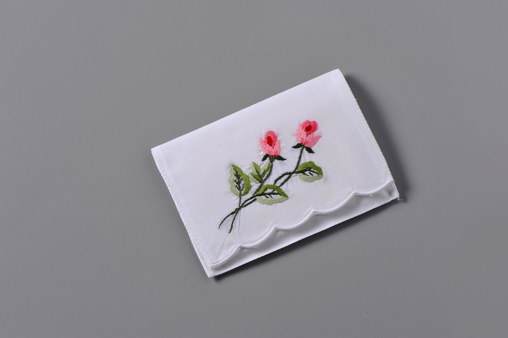 #4006R-PTC Hand Embroidered Rose Personal Tissue Pouch Suggested Retail Price $15