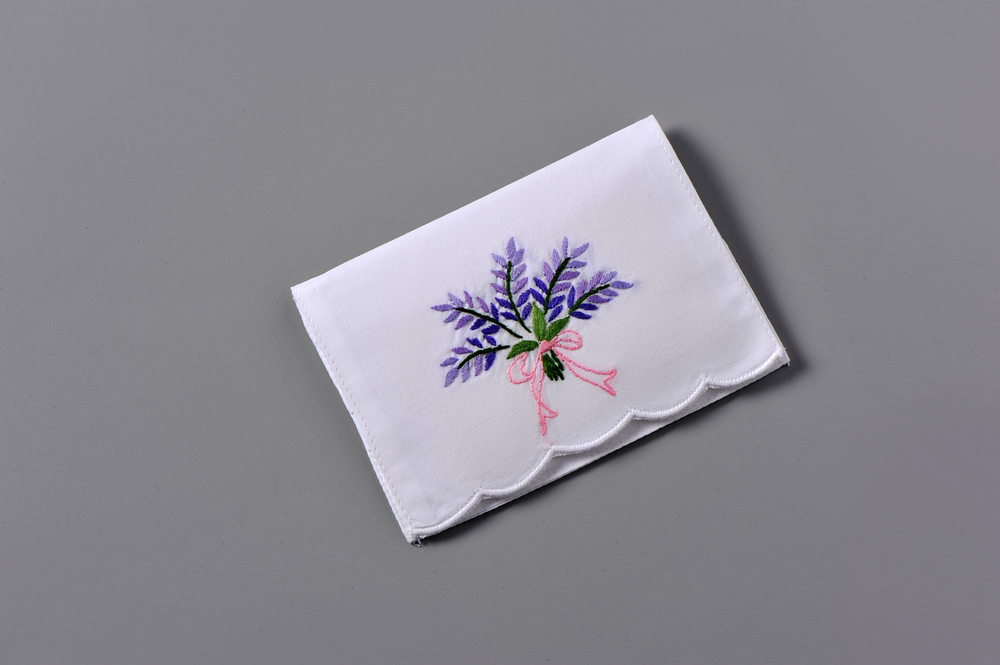 #4115-PTC Hand Embroidered Lavender Personal Tissue Pouch Suggested Retail Price $15