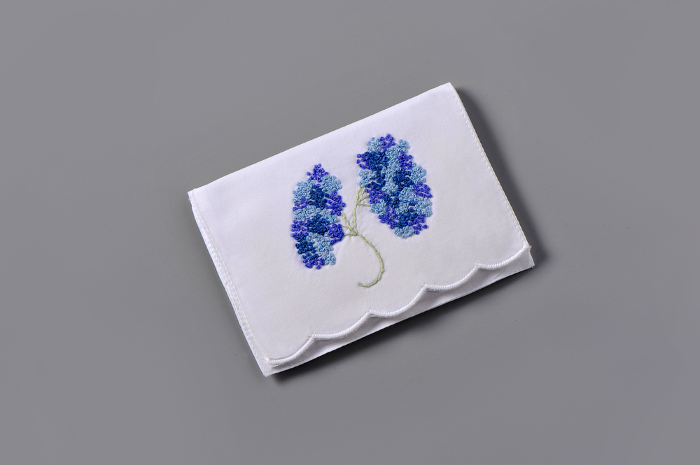 #4284-PTC Hand Embroidered Nantucket Hydrangeas Personal Tissue Pouch Suggested Retail Price $15